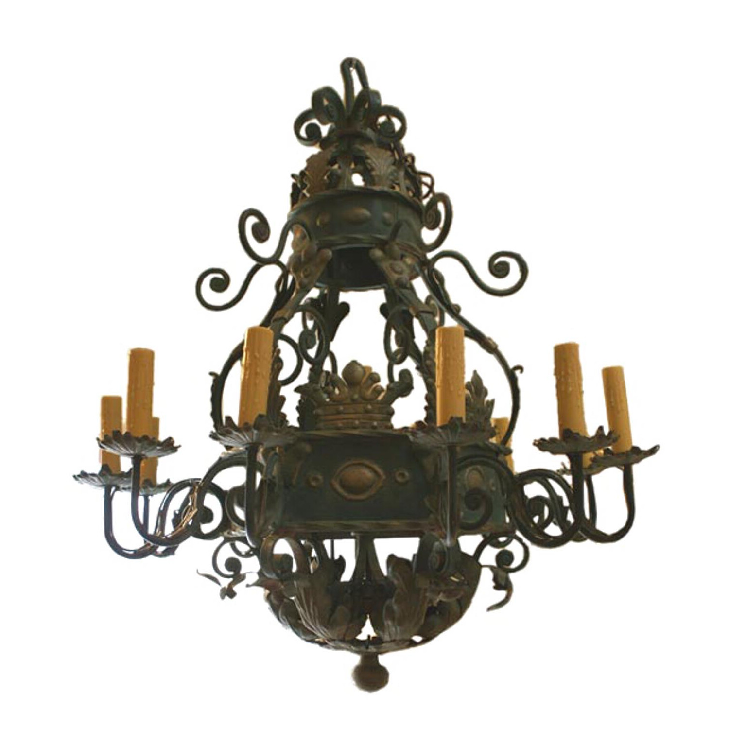 A 20th century french huge wrought iron chandelier antique and art a 20th century french huge wrought iron chandelier antique and art exchange aloadofball Gallery
